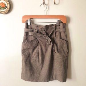 BCBG linen belted skirt